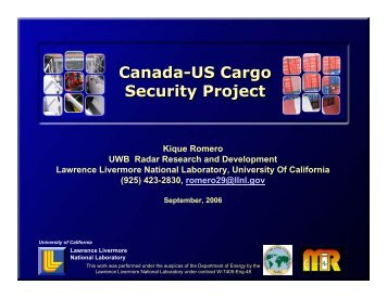 Canada-US Cargo Security Project Canada-US Cargo Security Project