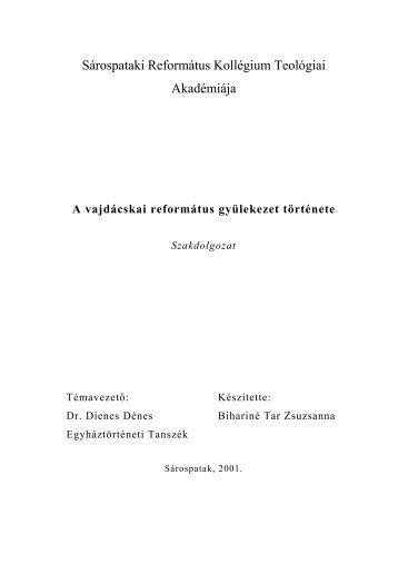 Vajdácska - Sárospataki Református Teológiai Akadémia