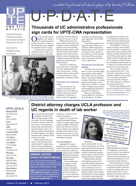 a newsletter for professional and technical     - UPTE-CWA 9119