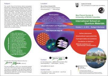 Program • International School on Quantum Materials - imprs