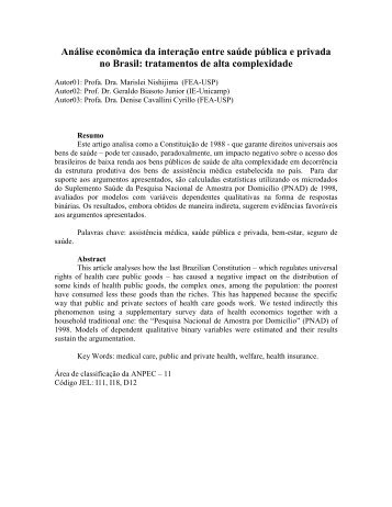 Análise econômica da interação entre saúde pública e ... - Anpec