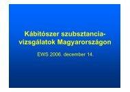 Kábítószer szubsztancia- vizsgálatok Magyarországon