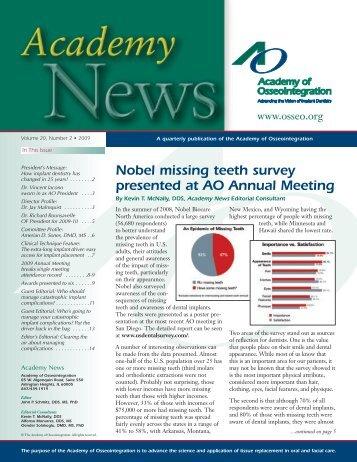 Nobel missing teeth survey presented at AO Annual Meeting