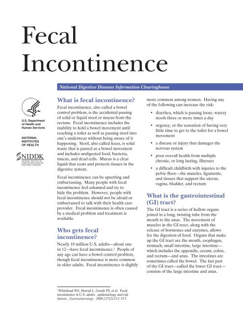 Fecal Incontinence - National Digestive Diseases Information ...