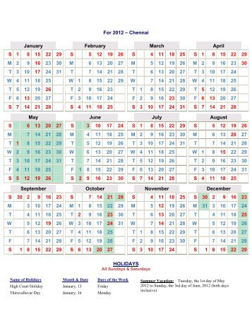 Court Calendar - India Law Offices