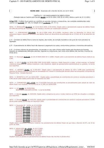 RICMS 2000 - Capítulo V - do Parcelamento de Débito Fiscal - Udop
