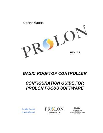 basic rooftop controller configuration guide for prolon focus software