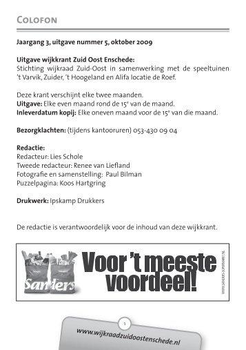 2009 Oktober - Wijkraad Zuid-Oost Enschede