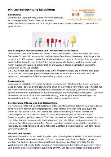 Mit Led-Beleuchtung kultivieren - Dutch-Headshop