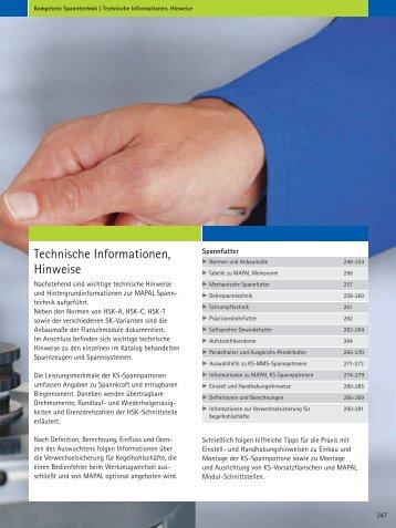 Technische Informationen, Hinweise - Mapal
