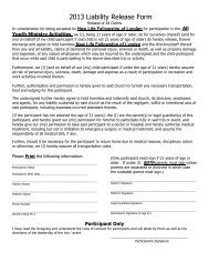 Liability Release Form - New Life Fellowship