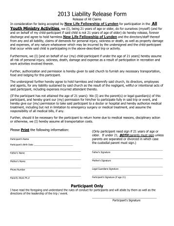 Liability Release Form   New Life Fellowship  Liability Release Form
