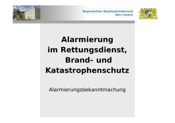 Alarmierungsbekanntmachung - Integrierte Leitstellen in Bayern