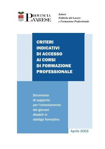 criteri indicativi di accesso ai corsi di formazione professionale