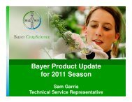 Bayer Product Update for 2011 Season