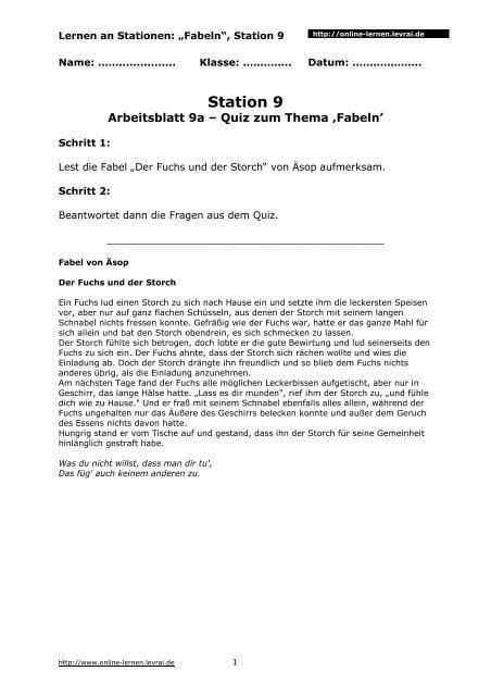 Arbeitsblatt 9a 3 Seiten Online Lernen