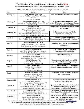 The Surgical Research Seminar Series: - Alpert Medical School ...