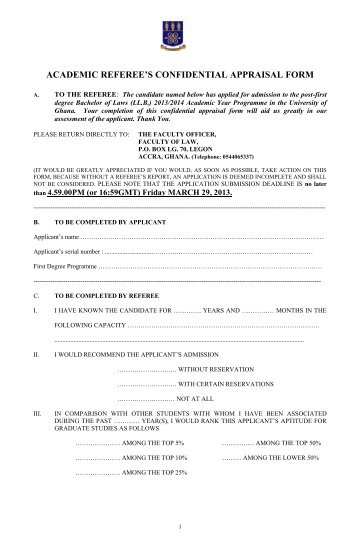 academic referee's confidential appraisal form - University of Ghana