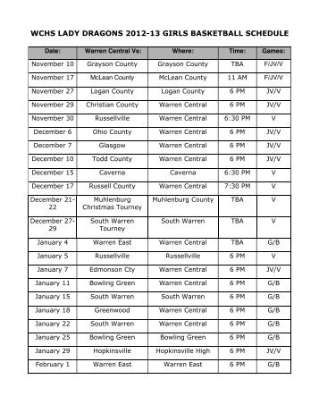 WCHS LADY DRAGONS 2012-13 GIRLS BASKETBALL SCHEDULE