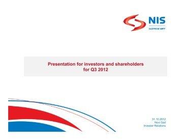 Q3 2012 - Investor Relations - NIS