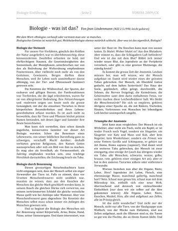Biologie ‐ was ist das? Von Jean Lindenmann (NZZ 2.5 ... - Caucau.ch