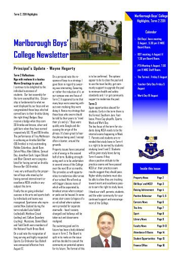 marlborough boys college newsletter