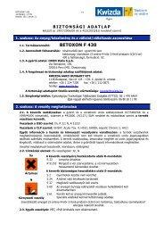 Biztonságtechnikai adatlap (Betoxon F 430) - Kwizda
