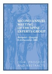 SECOND ANNUEL MEETING OF THE SPINE EXPERTS GROUP