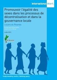 Promouvoir l'égalité des sexes dans les ... - International Alert