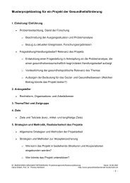 Musterprojektantrag für ein Projekt der Gesundheitsförderung