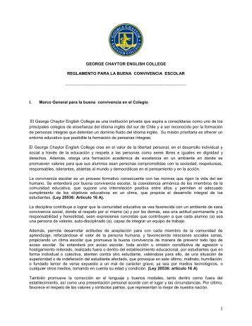 Reglamento Buena Convivencia Escolar - George Chaytor English ...