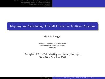 Mapping and Scheduling of Parallel Tasks for ... - ComplexHPC.org