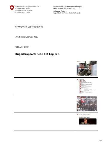 Brigaderapport: Rede Kdt Log Br 1 - Logistikbasis der Armee LBA