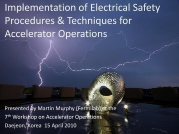 Implementation of Electrical Safety Procedures & Techniques for ...