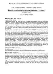 a.a. 2006/2007 - Dipartimento di Tecnologie dell'Architettura e Design