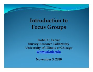 Introduction to Focus Groups - Survey Research Laboratory