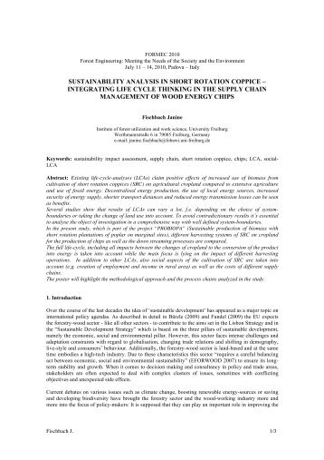 sustainability analysis in short rotation coppice - pro-biopa
