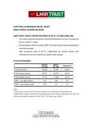 Press Release - Lippo Malls Indonesia Retail Trust - Investor Relations