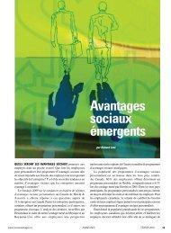 Avantages sociaux émergents - Conseiller