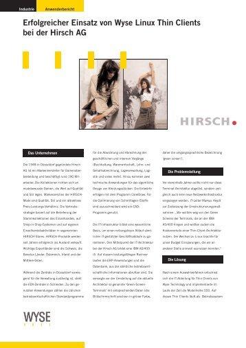 Erfolgreicher Einsatz von Wyse Linux Thin Clients bei der Hirsch AG