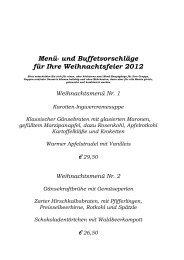 Menü- und Buffetvorschläge für Ihre Weihnachtsfeier 2012