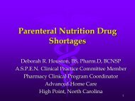 Parenteral Nutrition Drug Shortages