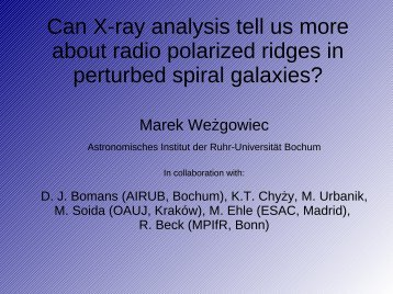 Can X-ray analysis tell us more about radio polarized ridges in ...