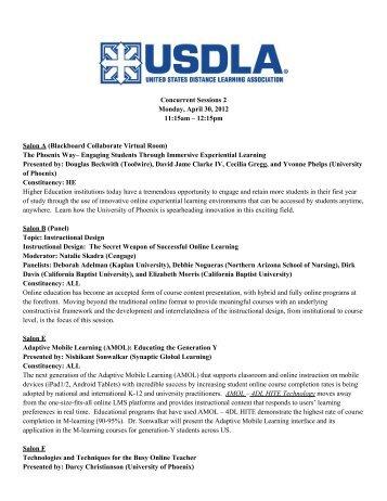 Concurrent Sessions 2 Monday, April 30, 2012 11:15am – 12:15pm ...