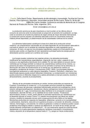 Micotoxinas: contaminación natural en alimentos para cerdos y ...