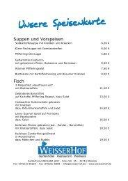 Suppen und Vorspeisen Fisch - Weisser Hof