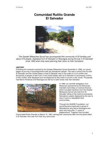 The Story of Comunidad Rutilio Grande - Partners with El Salvador