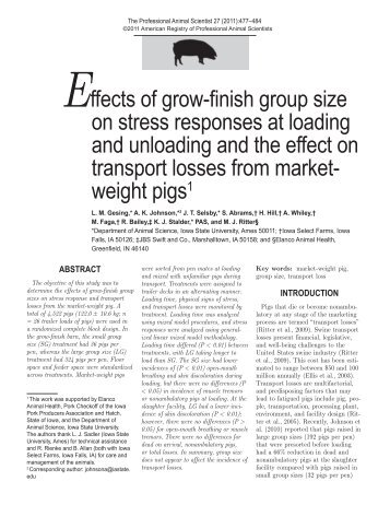 Effects of grow-finish group size on stress responses at loading and ...