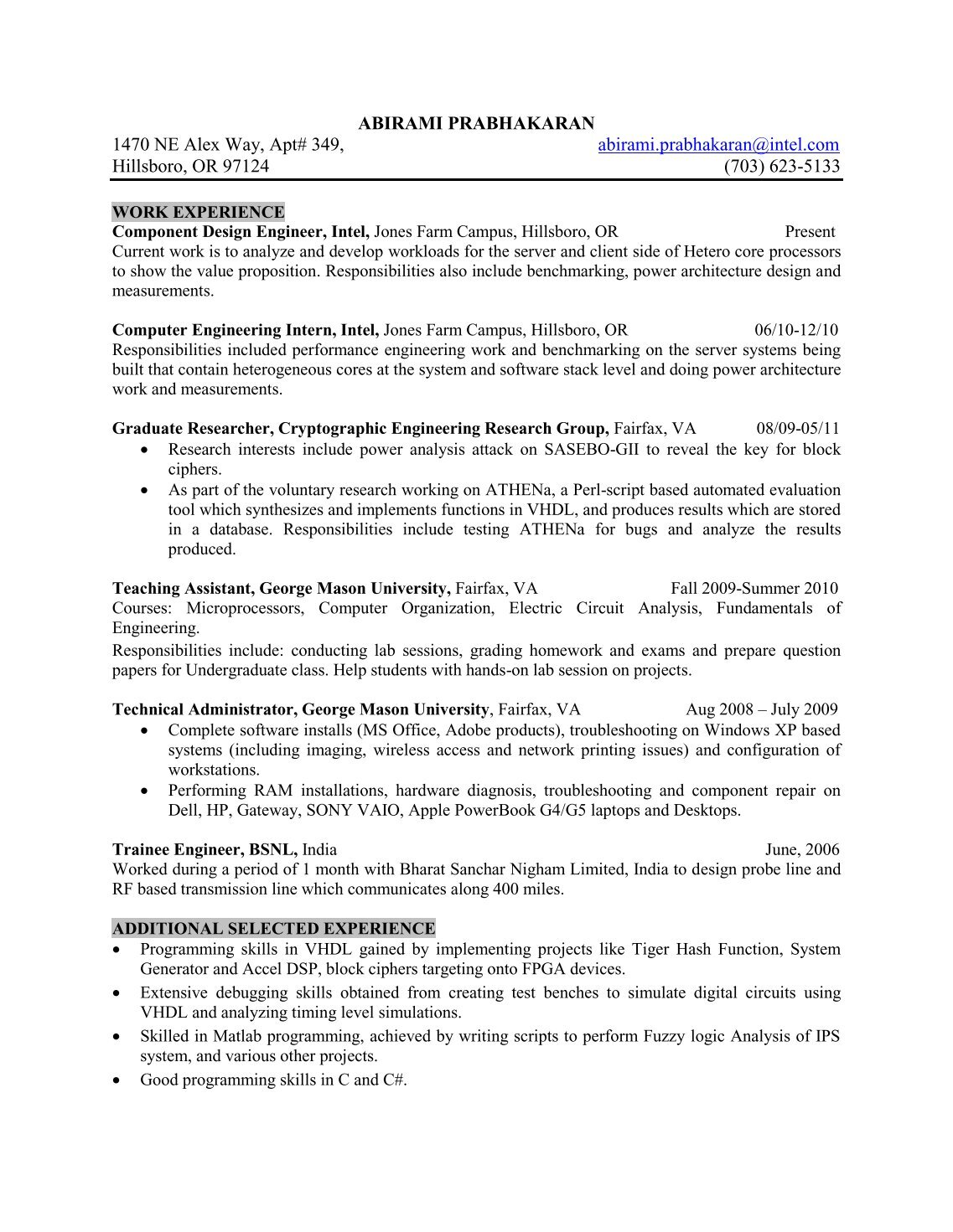 sample resume for engineering internship component engineer sample resumeml intel component design engineer sample resume plantation home - Apple Hardware Engineer Sample Resume