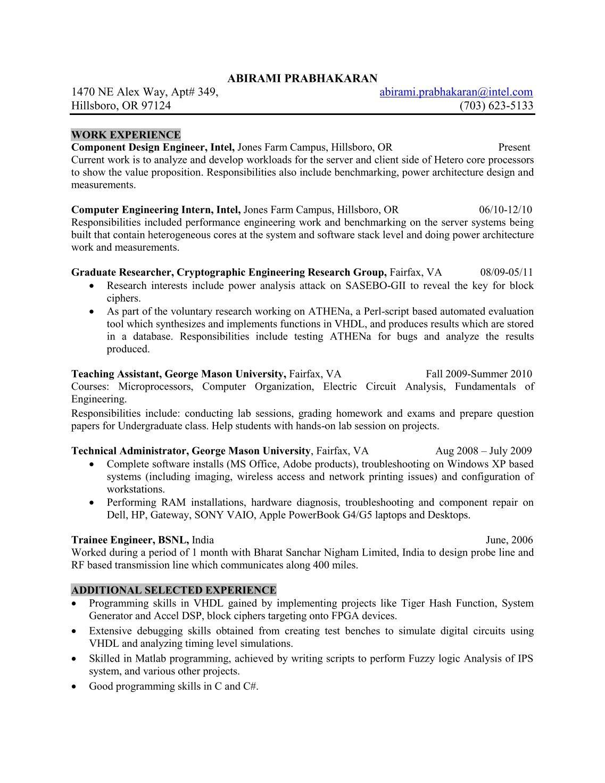 sample resume for engineering internship component engineer sample resumeml intel component design engineer sample resume plantation home - Performance Engineer Sample Resume